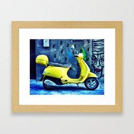A Yellow Scooter Framed Art Print