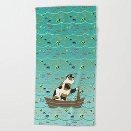 Captain Cat in seafoam Beach Towel