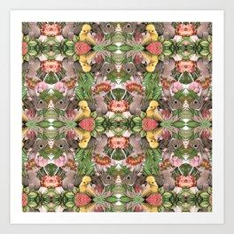 Bunny Cockatoo Kaleidoscope Art Print