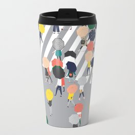 Crossing The Street on a Rainy Day - Grey Travel Mug