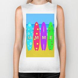 Summer in text on surfboards Biker Tank