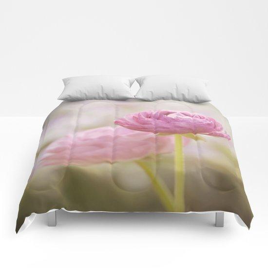 Pink floral Ranunculus flowers in love Comforters