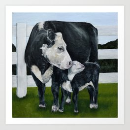 Mom and Baby Cows Art Print