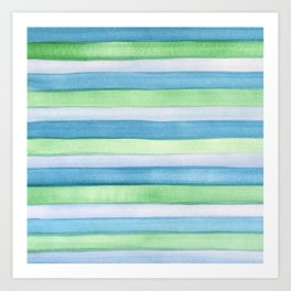Blue and Green Watercolour Stripes Painted Pattern Art Print