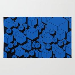3D Cobalt blue Cubes Rug