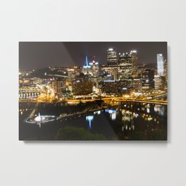 Pittsbugh- Night Skyline Metal Print