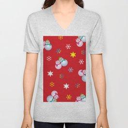 Snowflakes & Pair Snowman_D Unisex V-Neck