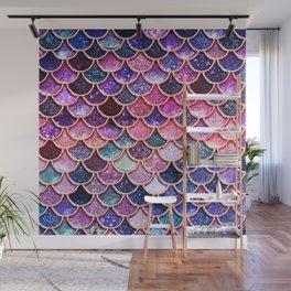Pink & Purple Trendy Glitter Mermaid Scales Wall Mural