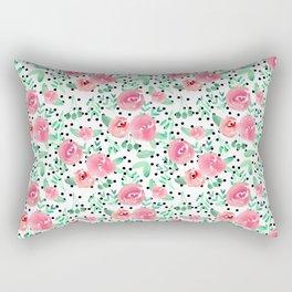 Sweet Pink Floral Rectangular Pillow