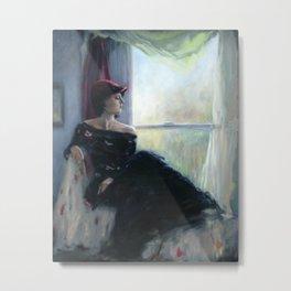 Woman sitting by window Metal Print