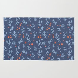 Berry Blue Branch Pattern Rug