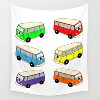 vw bus Wall Tapestries featuring VW-Style Love Bus Campervan - Multi Colour by Carrie at Dendryad Art