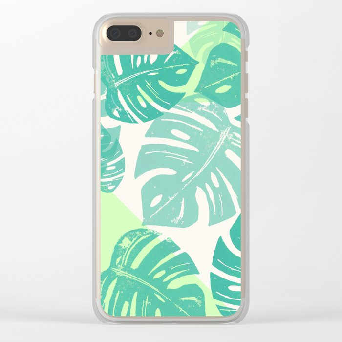 Linocut Monstera Green Clear iPhone Case