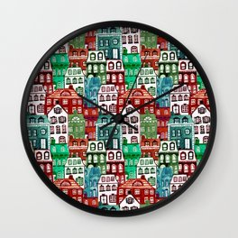 Christmas Village in Watercolor Red + Green Wall Clock