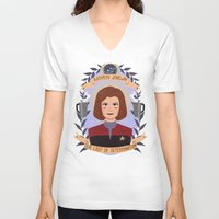 heymonster V-neck T-shirts featuring Kathryn Janeway by heymonster