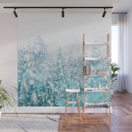 Snowy Pines Wall Mural