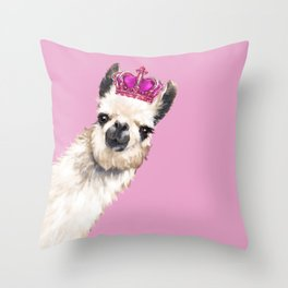 Llama Queen in Pink Throw Pillow