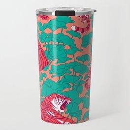 Scarlet tigers on lotus flower field. Travel Mug