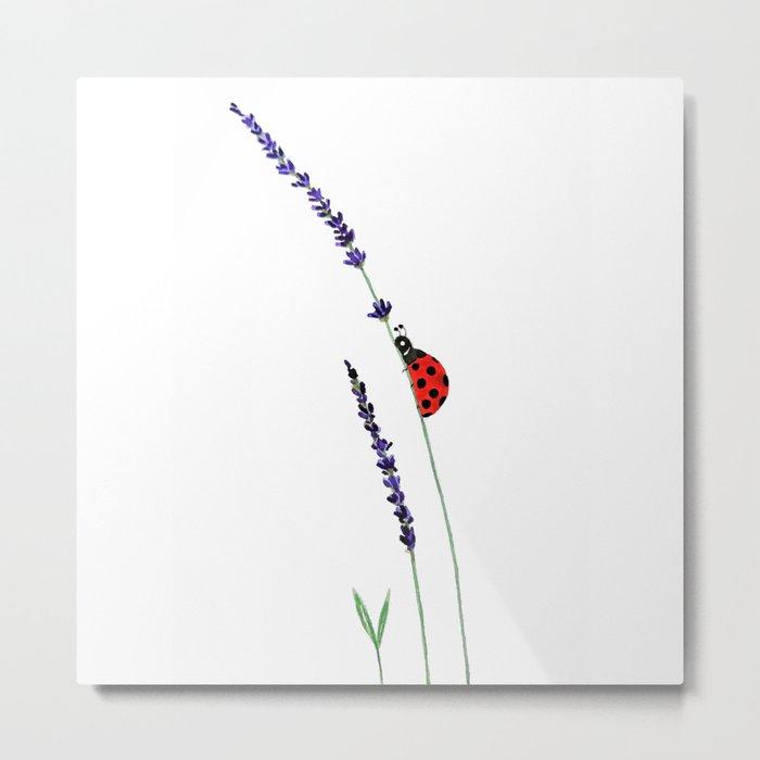 red ladybug and purple lavender Metal Print