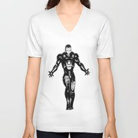 ironman V-neck T-shirts featuring Ironman by Bailey D
