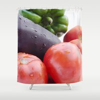 vegetables Shower Curtains featuring Vegetables by Carlo Toffolo
