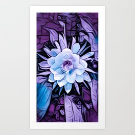 Purple Cereus Flower Art Print
