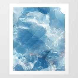 Blue marble calcite Art Print