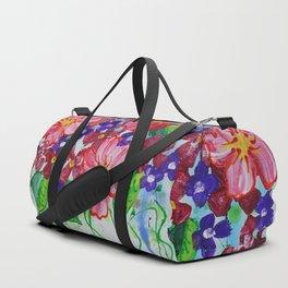 Floral painting flowers art blue by Ksavera Duffle Bag