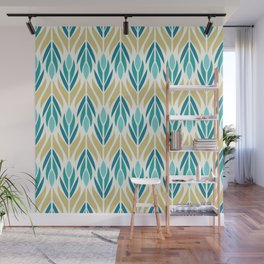 Mid Century Modern Abstract Floral Pattern in Turquoise Teal Aqua and Marigold Wall Mural