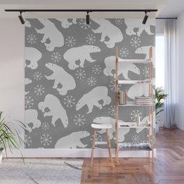 Polar bears and Snowflakes - gray Wall Mural