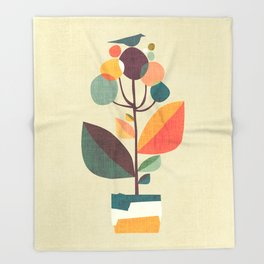 Potted plant with a bird Throw Blanket