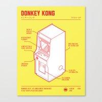 donkey kong Canvas Prints featuring ARCADE CAB - DONKEY KONG by KOMBOH