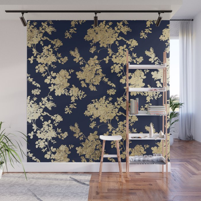 Elegant vintage navy blue faux gold flowers Wall Mural