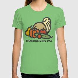 Happy Thanksgiving Day Cornucopia Design T-shirt