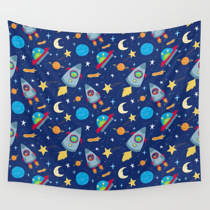 Fun Space Rockets and Aliens Wall Tapestry