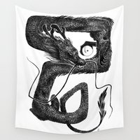goku Wall Tapestries featuring Dragon B by Natalie Hall