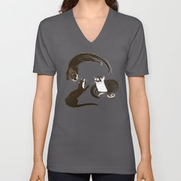 Asiatic and African clawless otter Unisex V-Neck