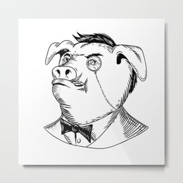 Aristocratic Pig Monocle Black and White Drawing Metal Print