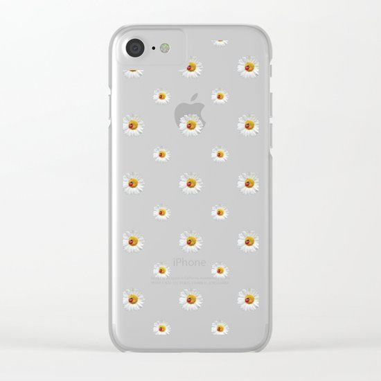 Daisies in love- lightblue pattern Clear iPhone Case