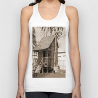 cabin Tank Tops featuring Log Cabin by Rhonda Lain