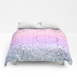 Sparkling UNICORN Girls Glitter Heart #1 #shiny #pastel #decor #art #society6 Comforters
