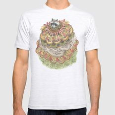 Quilted Forest: The Raccoon MEDIUM Mens Fitted Tee Ash Grey