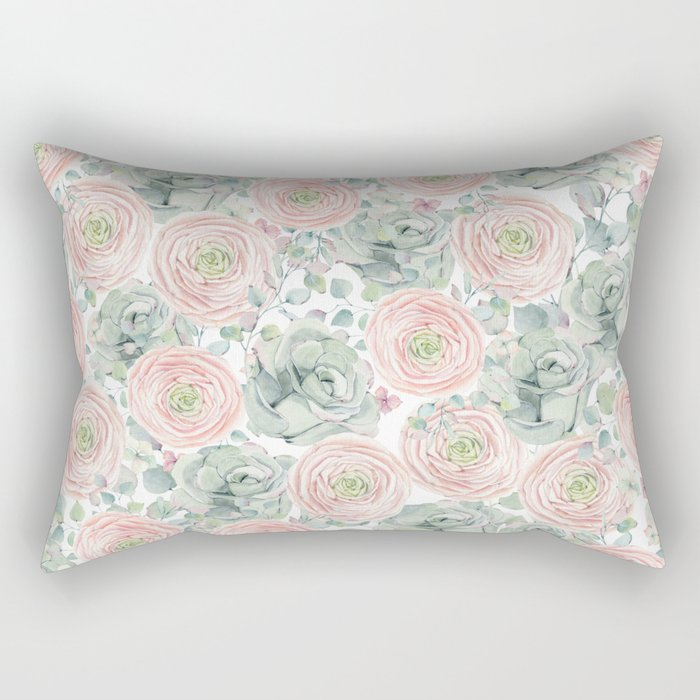 Flowers And Succulents White  #buyart #decor #society6 Rectangular Pillow
