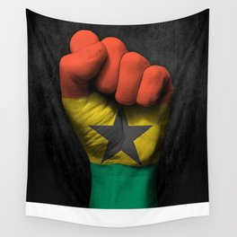 Ghana Flag on a Raised Clenched Fist Wall Tapestry