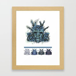 "Samurai 4. (Samurai mask ""D"" big and 4 small masks) Framed Art Print"