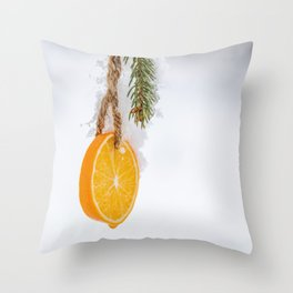 Cold frosty Orange Slice hanging in a tree for the holidays Throw Pillow