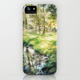 Landscape of a forest and river iPhone Case