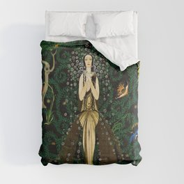 1921 Classical Masterpiece 'Flowers and Flames' by Kay Nielsen Comforters