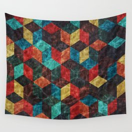 Colorful Isometric Cubes Wall Tapestry