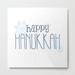 Happy Hanukkah | Snowflakes Metal Print